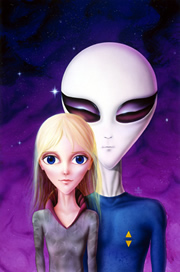 ET and Hybrid Child - Artwork by Corey Wolfe
